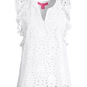 Lilly Pulitzer Faun White Eyelet Top Size Large